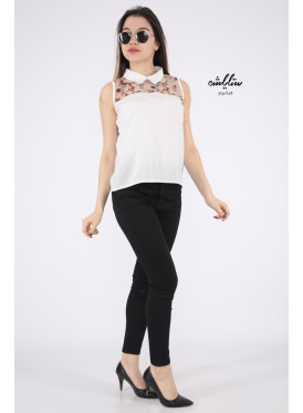 Elegant white backless blouse decorated with high collar