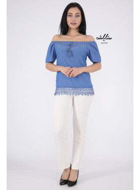 Elegant blue blouse with bare shoulders decorated with lace