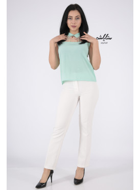 Elegant green light backless blouse decorated with high collar