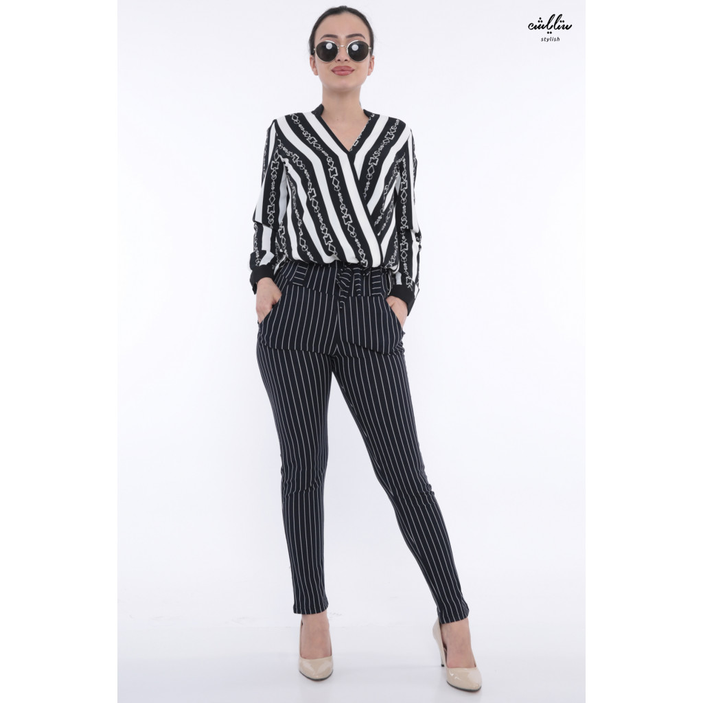 Elegant black and white striped blouse with soft roll design