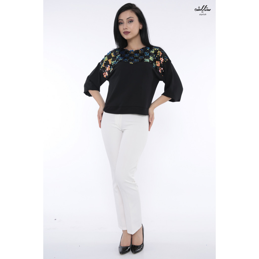 Elegant black sequin embellished blouse for the most beautiful view