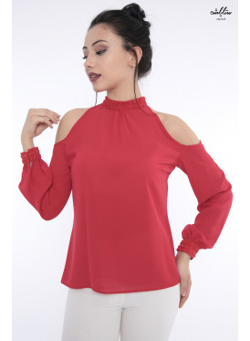 A soft blouse in red with a long open shoulder with a high collar to give you an attractive touch