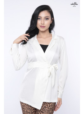 White blouse decorated with practical design