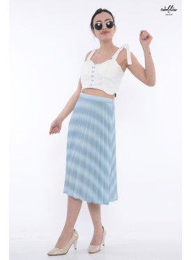 Elegant and attractive crisp corrugated sky color midi skirt