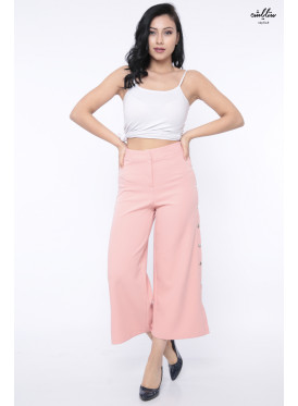 Hi West wide soft pink pants from the bottom with open side buttons