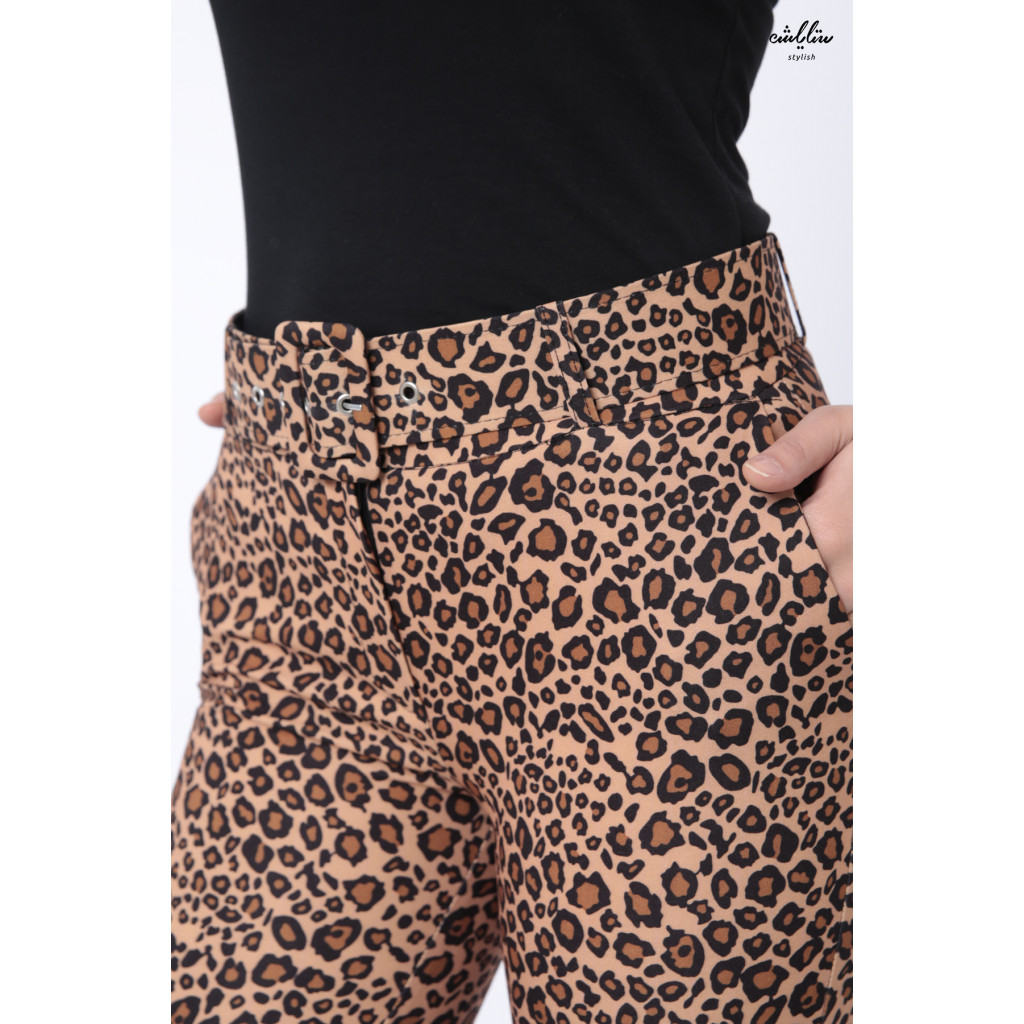 Tiger Leather design pants with elegant waist belt