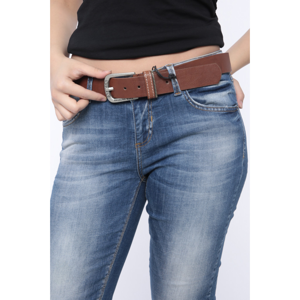 Stylish jeans with leather strap crisp view