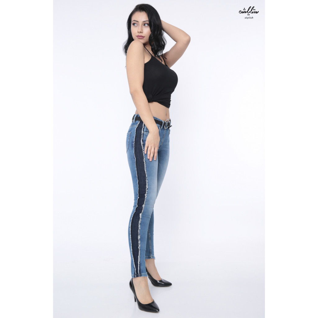 Light jeans with stylish strap and distinctive side design