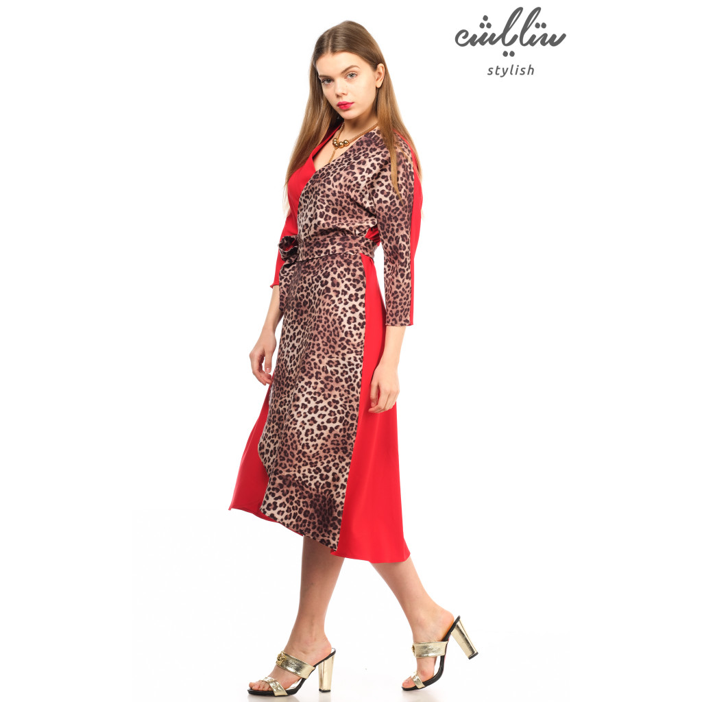 Highly elegant midi dress with red-colored crisp leopard leather