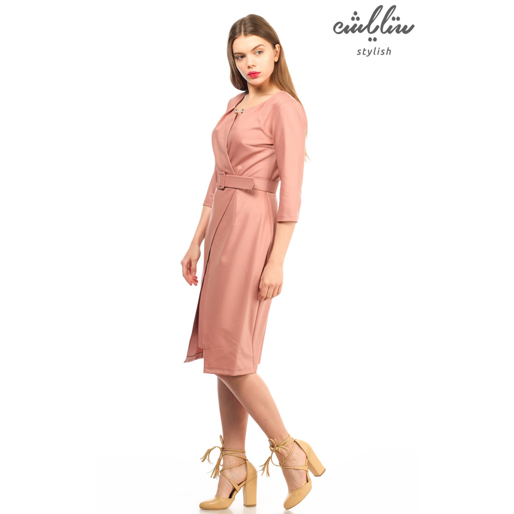 The enchanting dress in this powder-colored gown with an innovative  and feminine touch