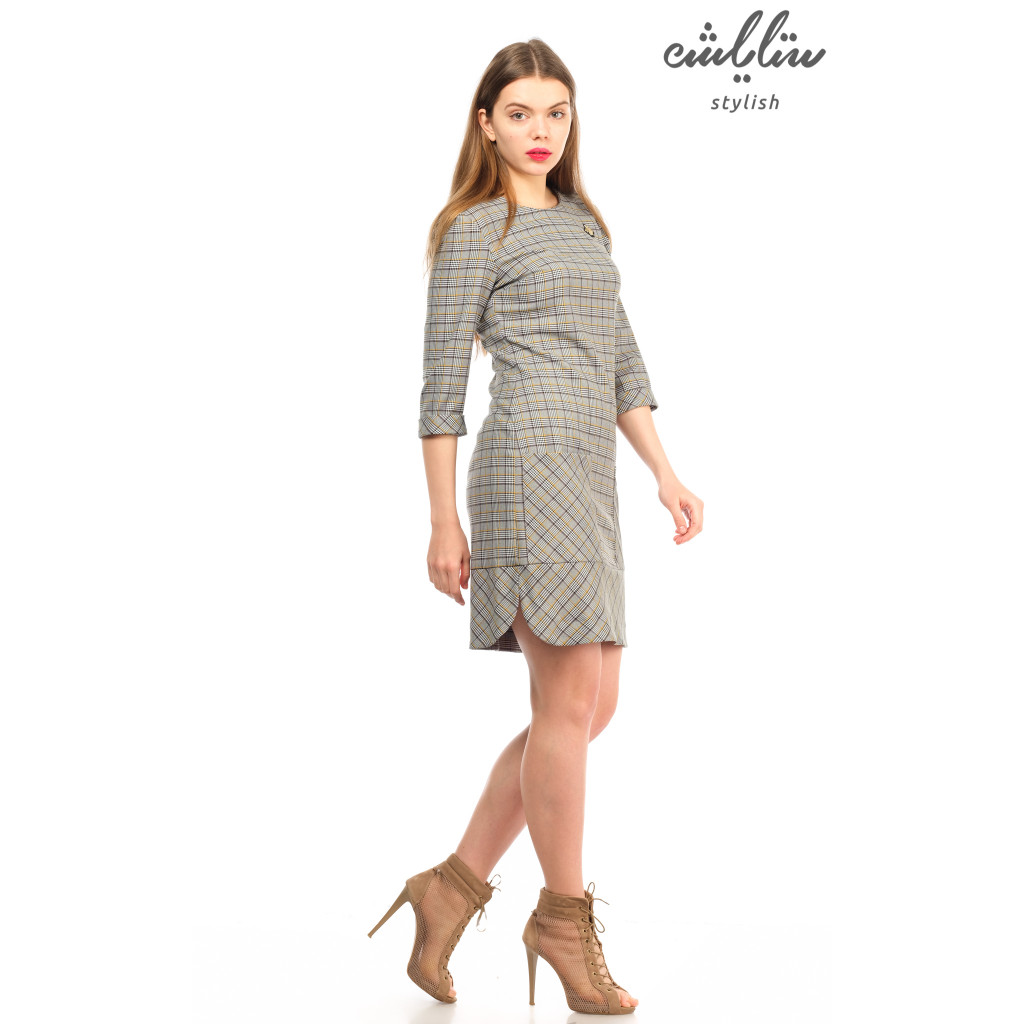Elegant grey yellow striped dress  attractive