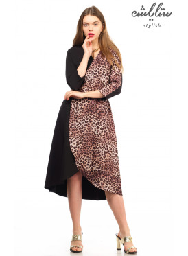 Elegance in this beautiful dress with the design of a black roll with leopard skin crisp babe