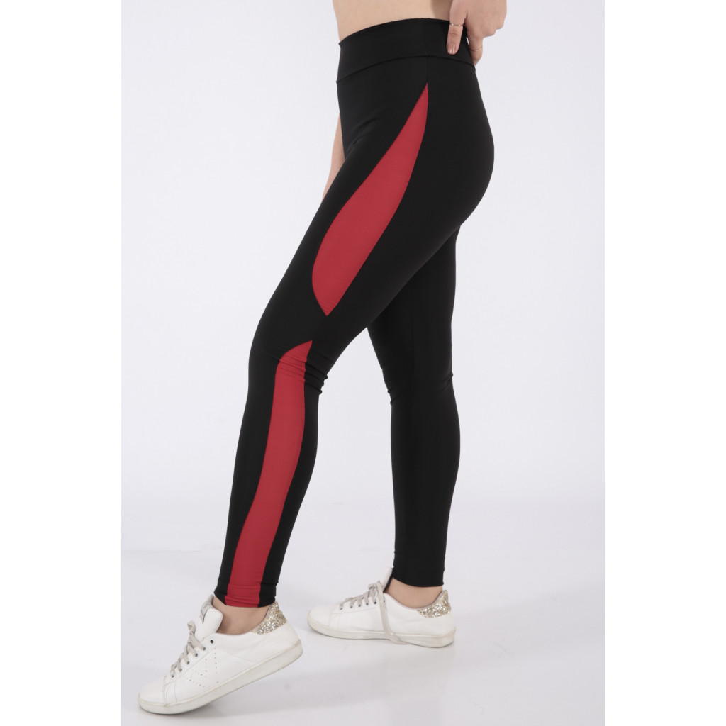 Black sport trousers with very distinctive red sides line