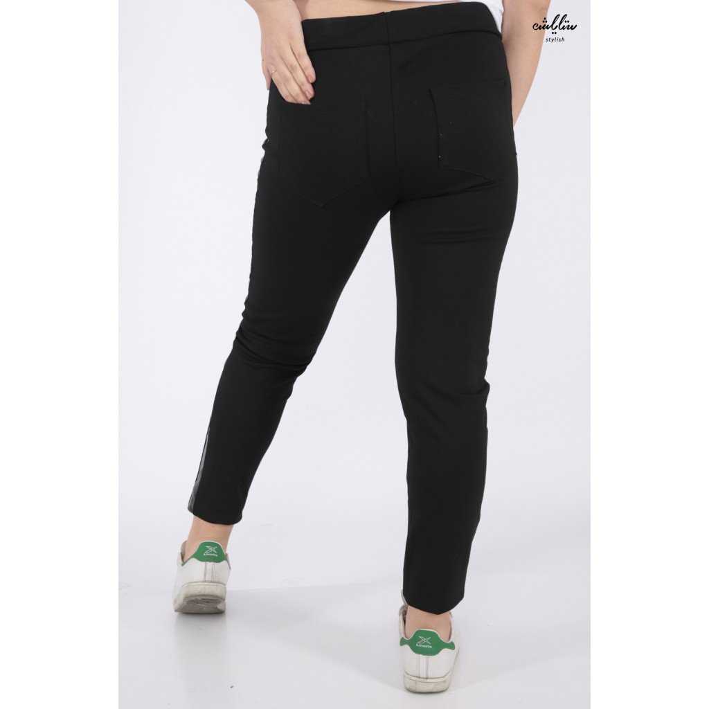 Stylish black sport trousers with side leather pieces to give practical look