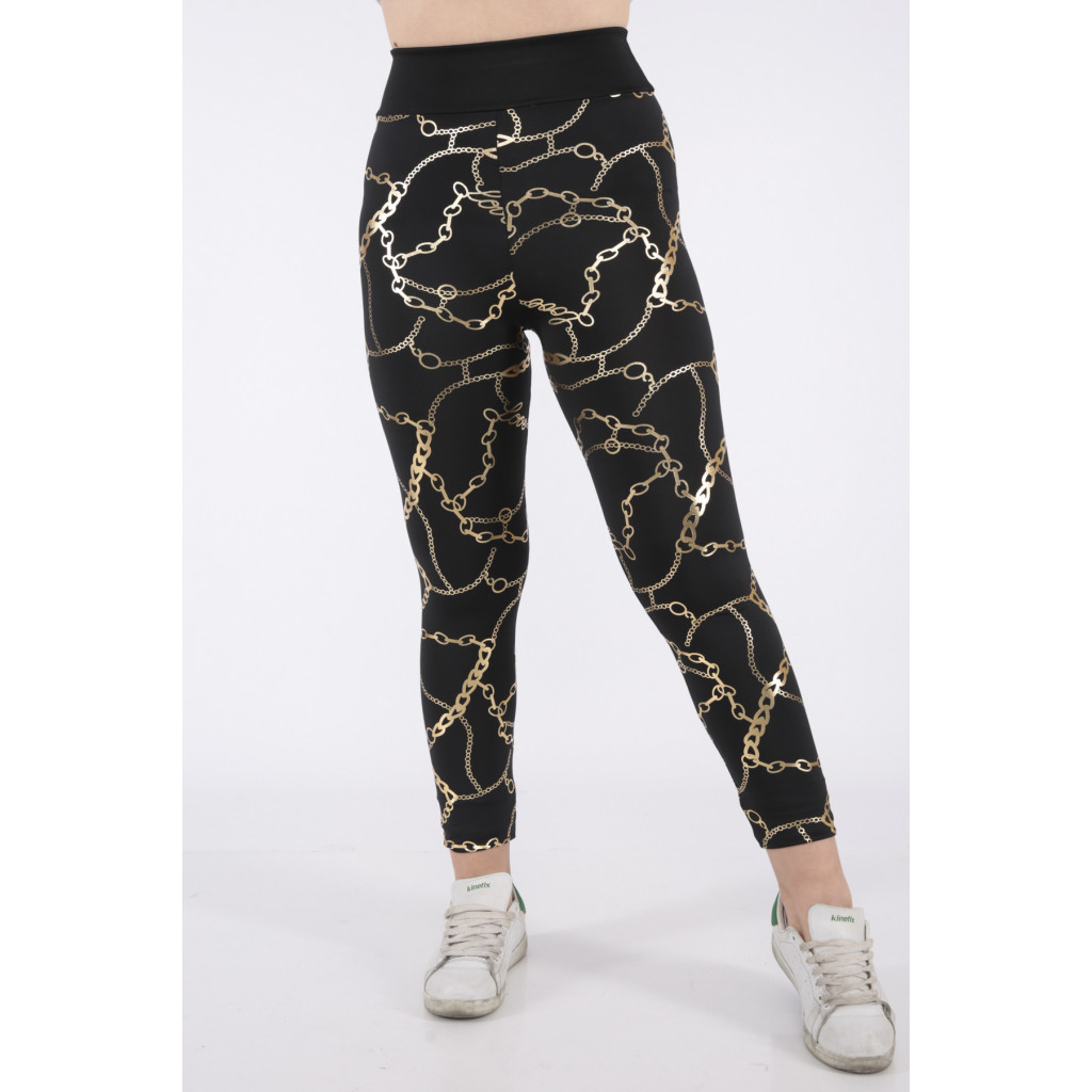 Very elegant black trousers with soft gold chain prints
