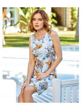 Elegant short shoulder dress with rose prints in luxurious material