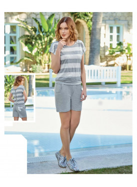 Short grey set, striped, soft and comfortable