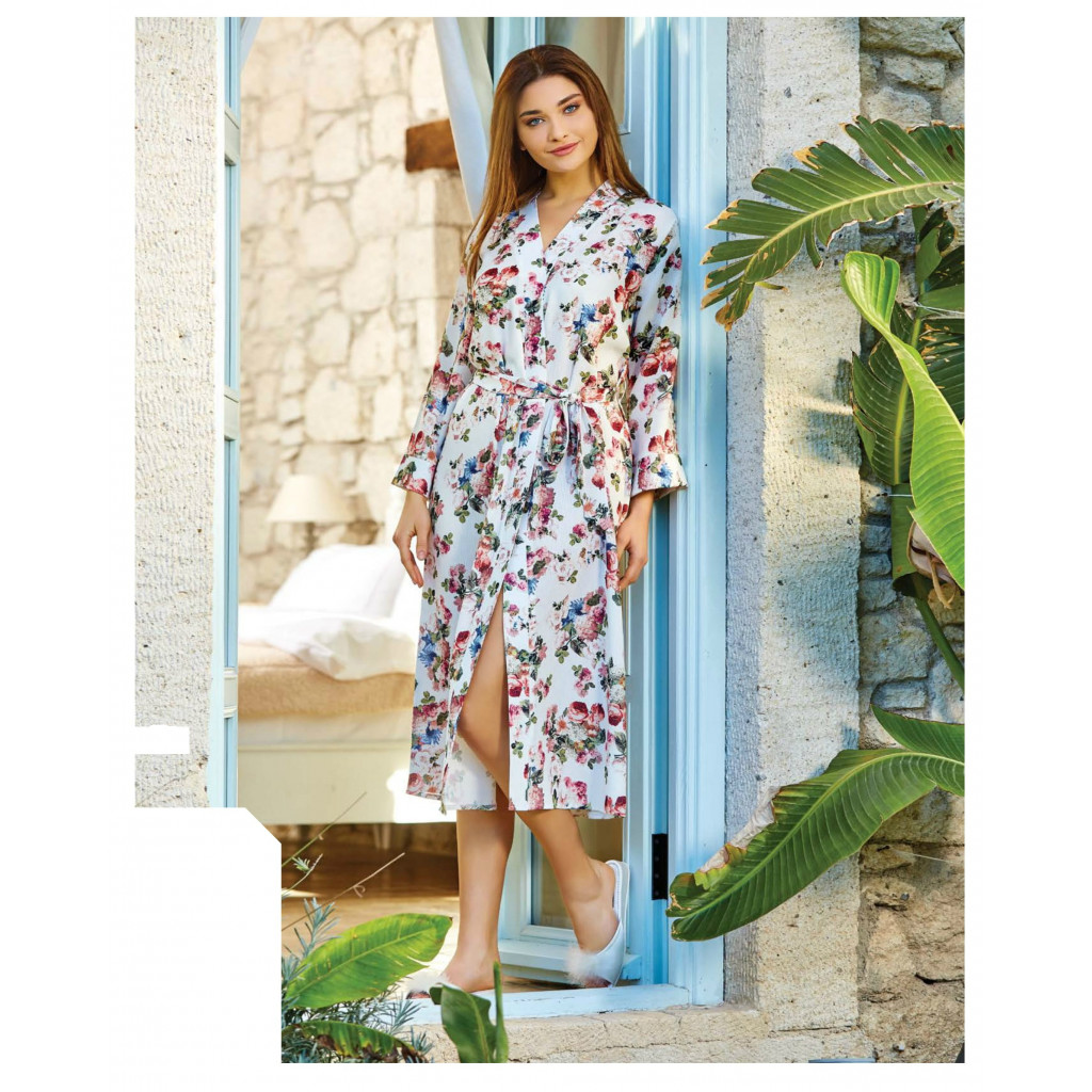 Women's robe is soft, long, with a belt on the waist with a stylish and comfortable style