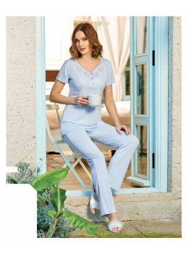 Pajama is all soft in the color of baby blue, soft crisp and comfortable feeling