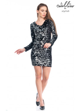 Short dress, v-neck collar, black sequin, long sleeves, stylish design