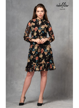 A very elegant short dress with long sleeves and a rose pattern crisp feminine and soft