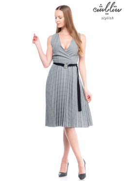 Grey short dress, blue stripes, sleeveless pleated with elegant design