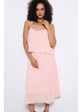 A very smooth baby pink midi sleeveless dress with a beautiful design