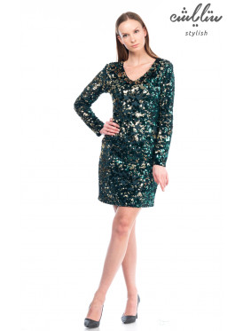Short dress, v-collar, green sequin, long sleeves, stylish design