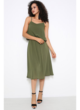 A very soft, green oily, midi dress with a beautiful design