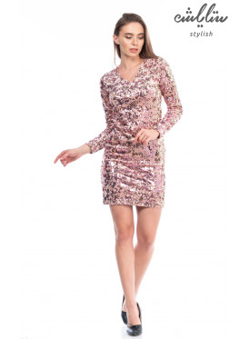 Short dress, collared v, sequins and pink, long-sleeved, stylish design