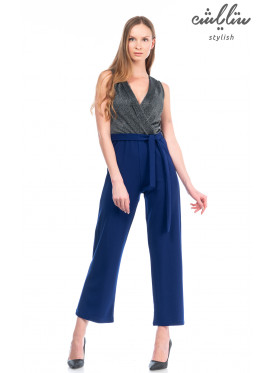 Elegant Blue v-neck backless strap-on waist with high glossy canvas and attractive heroine