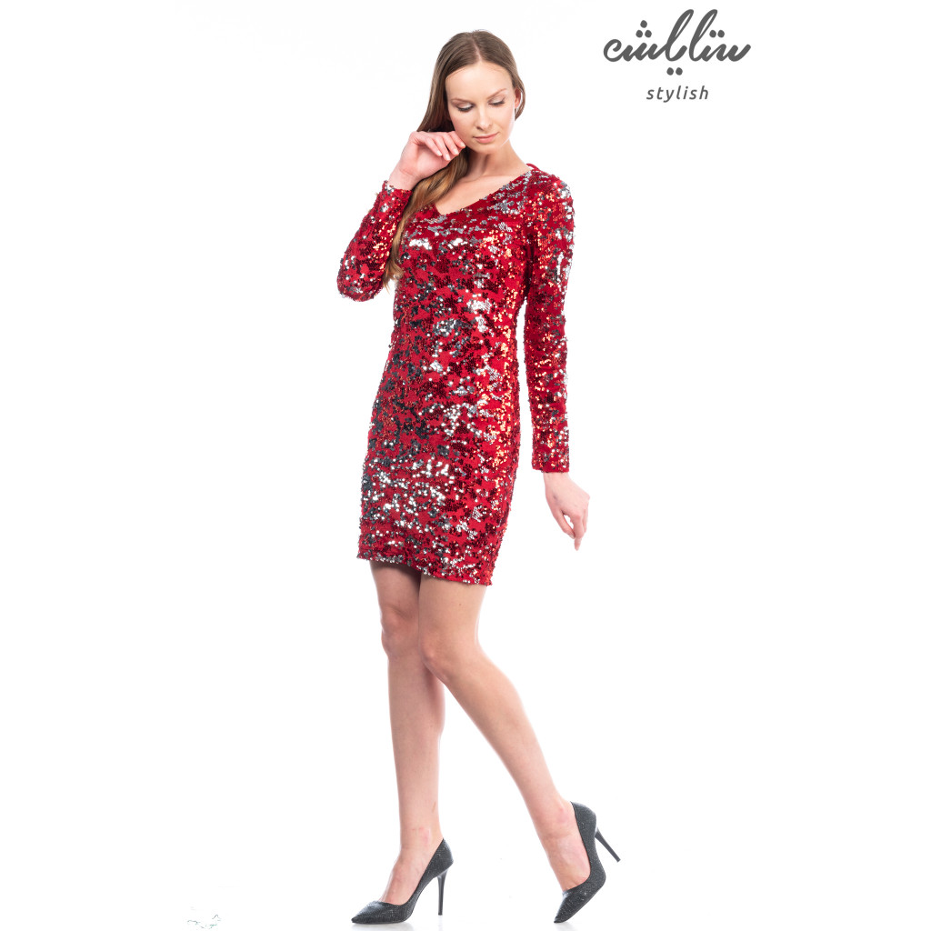 Short red dress collared v, sequin red long-sleeved stylish design