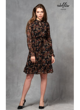 High collar short dress and long sleeve with rose prints for a charming view