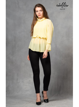 Soft yellow blouse with a long collar to give an appealing touch