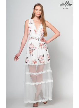 Elegant white backless maxi dress embellished with chiffon from the bottom with floral prints crisp witch
