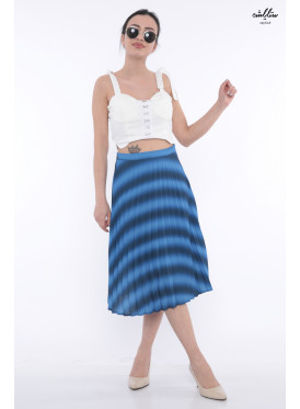 Elegant and attractive crisp corrugated blue midi skirt