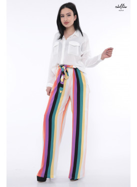 High color loose long pant with soft look