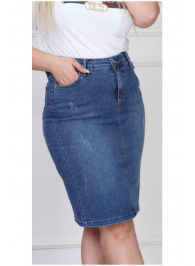 Short jeans skirt with front and rear pockets