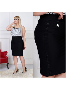 An elegant black skirt decorated with black Sorovsky granules to give an attractive look