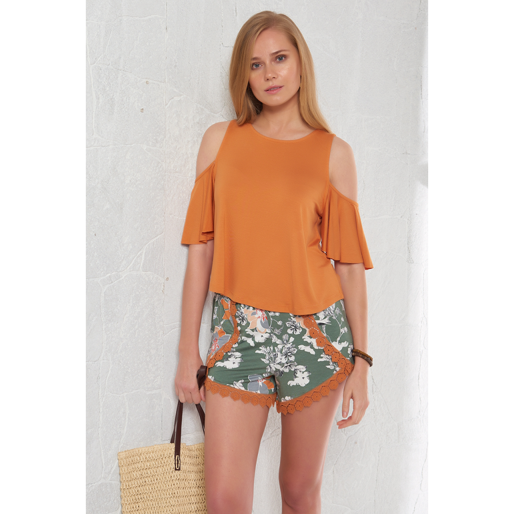 Stylish short set in orange and short with soft and cool texture and attractive view
