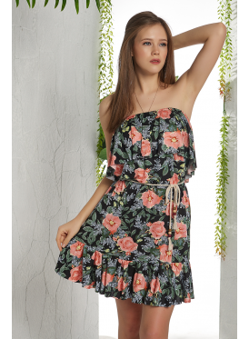 short, bare shoulders dress with a beautiful chest decorated with a flower print