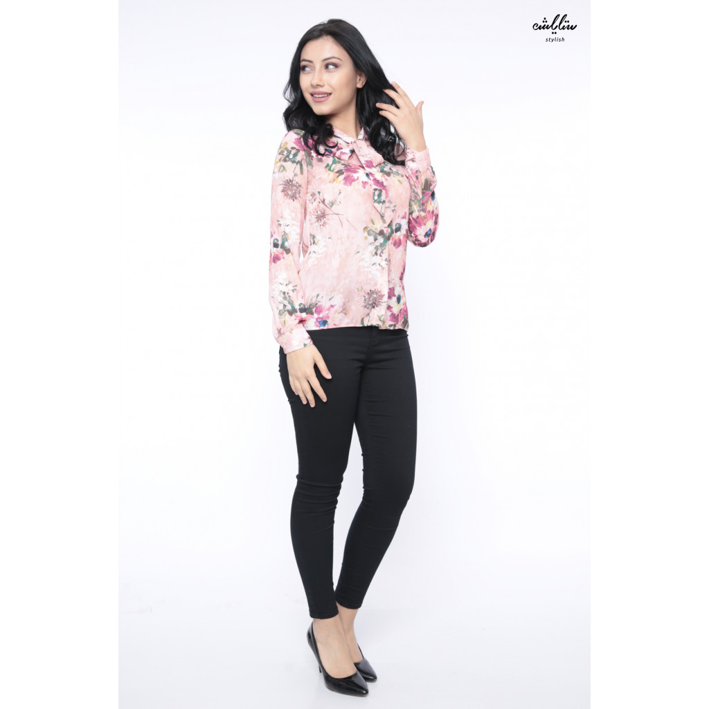 Elegant pink striped blouse with high collar and attractive view