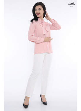 Elegant pink blouse with high collar and attractive view