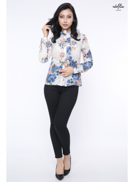 Elegant white floral blue rose blouse with high collar and attractive view