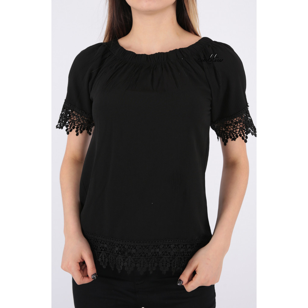 Elegant black off-the-shoulder blouse decorated with lace
