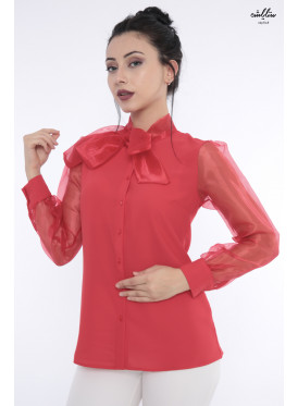Elegant red blouse with high collar with transparent sleeves