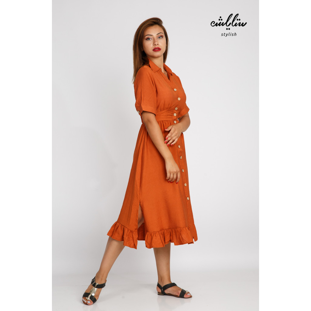 Soft, short to-do dress with front buttons and an innovative cut for a comfortable and practical feel