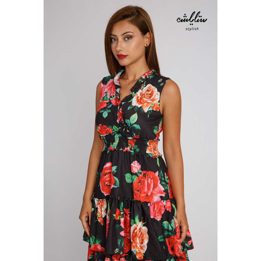 Long dress decorated with floral prints in layered style with elastic belt for an attractive look