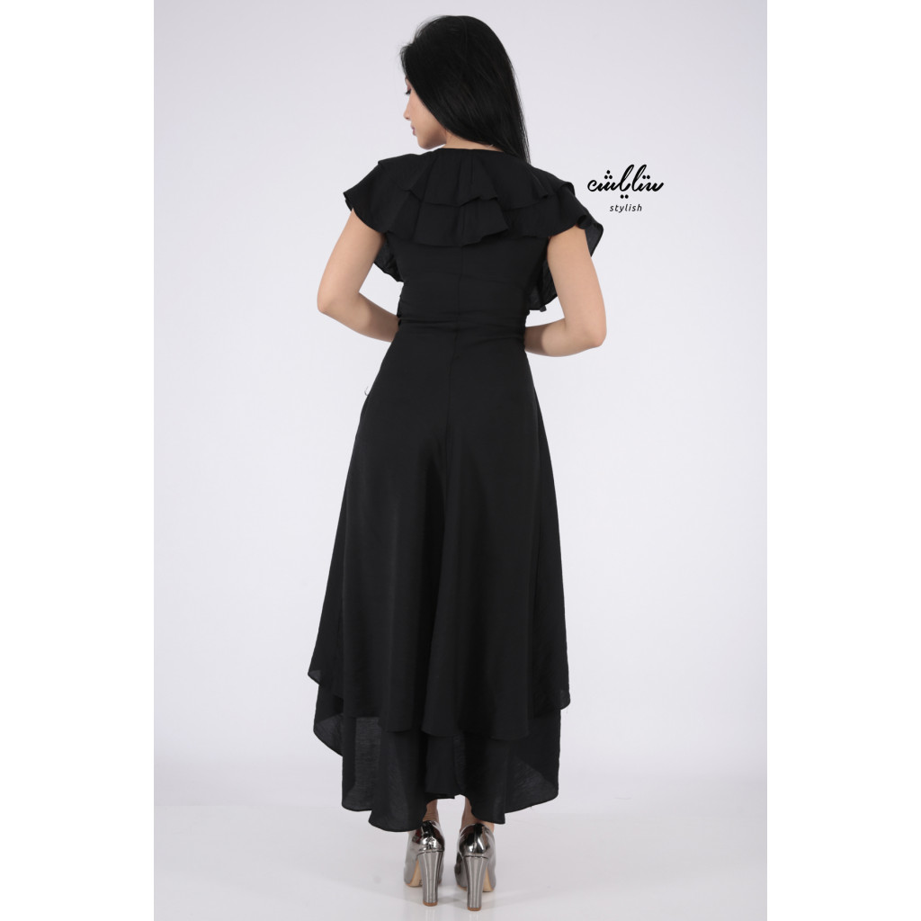 This dress is very elegant in black with a short soft cut from the front long from the back crisp all smooth