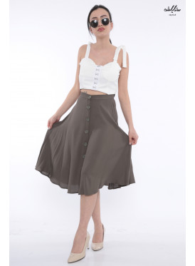 Elegant, wide-style, oil-colored midi skirt with attractive views